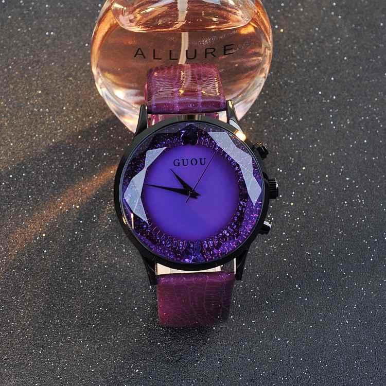 Часы GUOU женские роскошные модные кварцевые часы женские наручные часы из натуральной кожи женские часы с бриллиантами Женские часы Саат