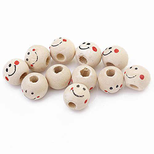 Sorriso Rosto Redondo Solta Pérolas de madeira 10mm (Pacote de Aprox. 40 pcs)