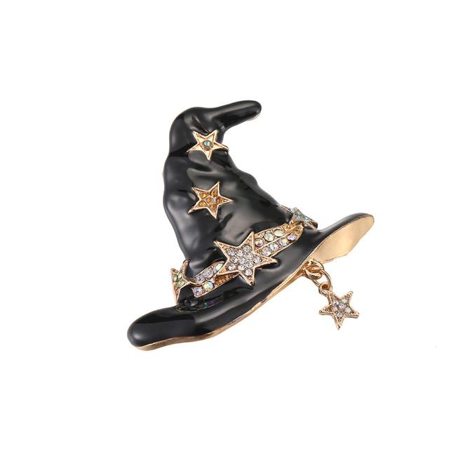 GIVVLLRY Cartoon Black Enamel Hat Brooches for Kids Friend Women Men Accessories Fashion Rhinestones Star Witch Hat Lapel Pins