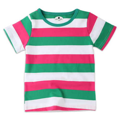 Fashion Kids T-shirt 100% Cotton Summer ChildrenS Clothing Child T-ShirtBaby Boy Rainbow Colourful Stripe Short-Sleeve T-Shirt