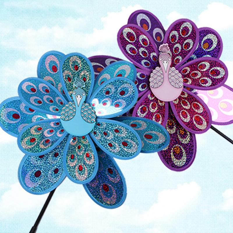 Outdoor Toy Double Layer Peacock  Sequins Windmill Colorful Wind Spinner House Garden Decor Yard Kids Toys