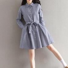 Bayanlar yeni sonbahar koleji rüzgar oldu ince bel kemeri dikey stripes uzun bölüm yaka uzun kollu elbise bayanlar için