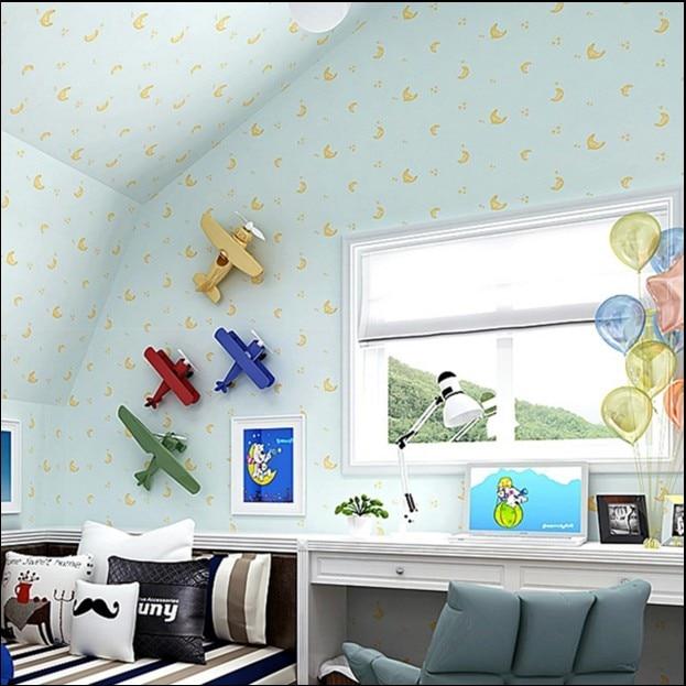 new hot sale environmental non-woven wallpaper blue boy lovely cartoon background bedroom of children room wall paper stars moon