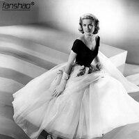 Vintage Off Shoulder Tea Length Grace Kelly of Monaco White and Black Formal Evening Dress