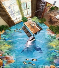 Custom photo 3d flooring mural self – adhesion wall sticker Dolphin Reefs 3D painting waterproof floor Hotel lobby