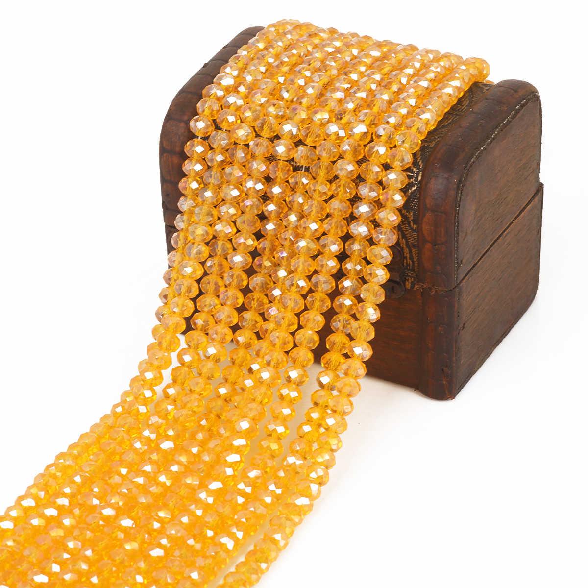 Wybierz rozmiar 2 3 4 6 8mm czeskie luźne Rondelle kryształowe koraliki do wyrobu biżuterii splot krzyżowy dmc AB kolor Spacer fasetowane paciorki szklane