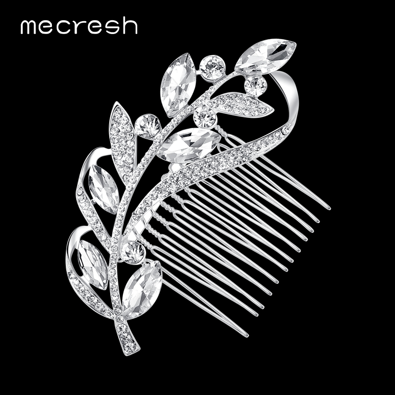 M&MJewelry Elegant Teardrop Crystal Wedding Hair Combs Silver Plated Bridal New Leaf Shape Tiara MFS104