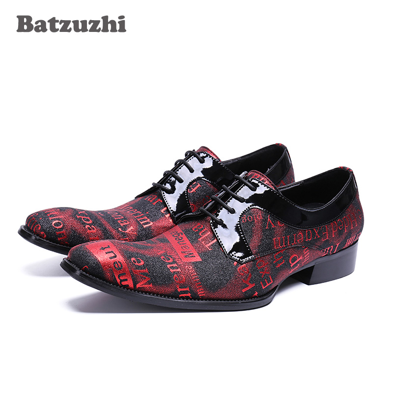 Batzuzhi 2018 New Handmade Men Shoes Red Genuine Leather Business Dress Shoes Lace-up Italian Pop Men Wedding and Party Shoes,46 ntparker wine red high heels men dress shoes leather fashion business leather shoes handmade wedding shoes for men 38 46 big