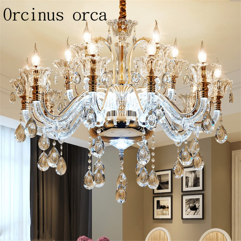 цена на European style luxury luminous crystal chandelier living room dining room bedroom American style creative candle chandelier