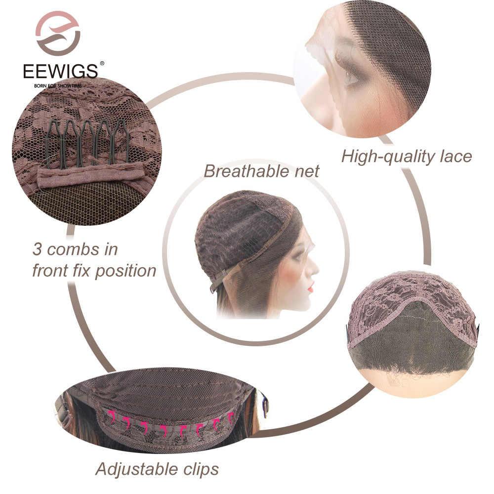 EEWIGS Sóng Tự Nhiên Dài Rễ Đen Ombre Tổng Hợp Màu Đỏ Ren Phía Trước Tóc Giả Phụ Nữ của Dải Bện Đôi Chịu Nhiệt Làm Bằng Tay Dài tóc giả