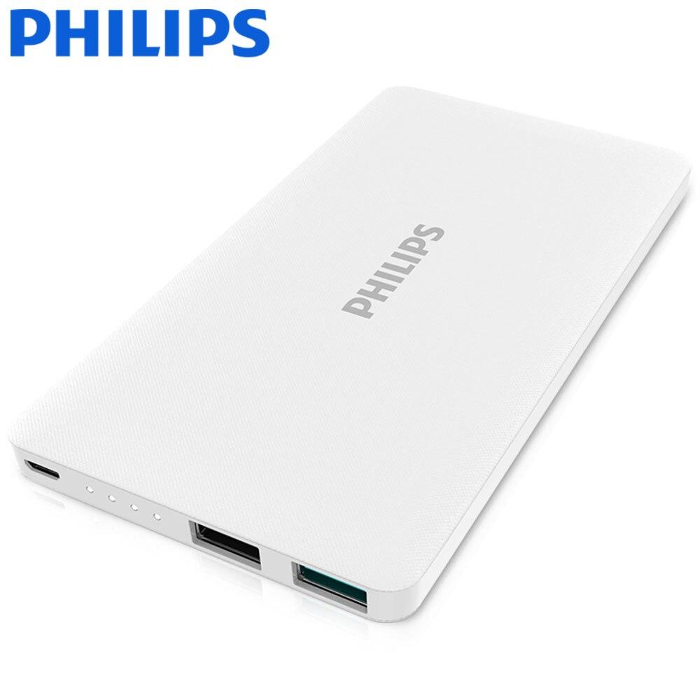 imágenes para Philips 10000 mah banco de la energía de reserva externo del cargador de batería dual usb universal para el iphone samsung xiaomi powerbank ultra delgada