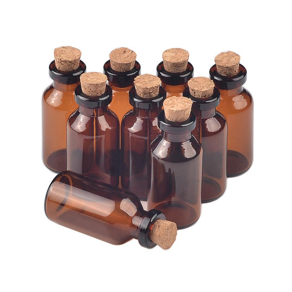 18X40X7 mm 5ml Empty Small Glass Bottles With Corks Mini Amber Glass Perfume Vials Pendants Wedding