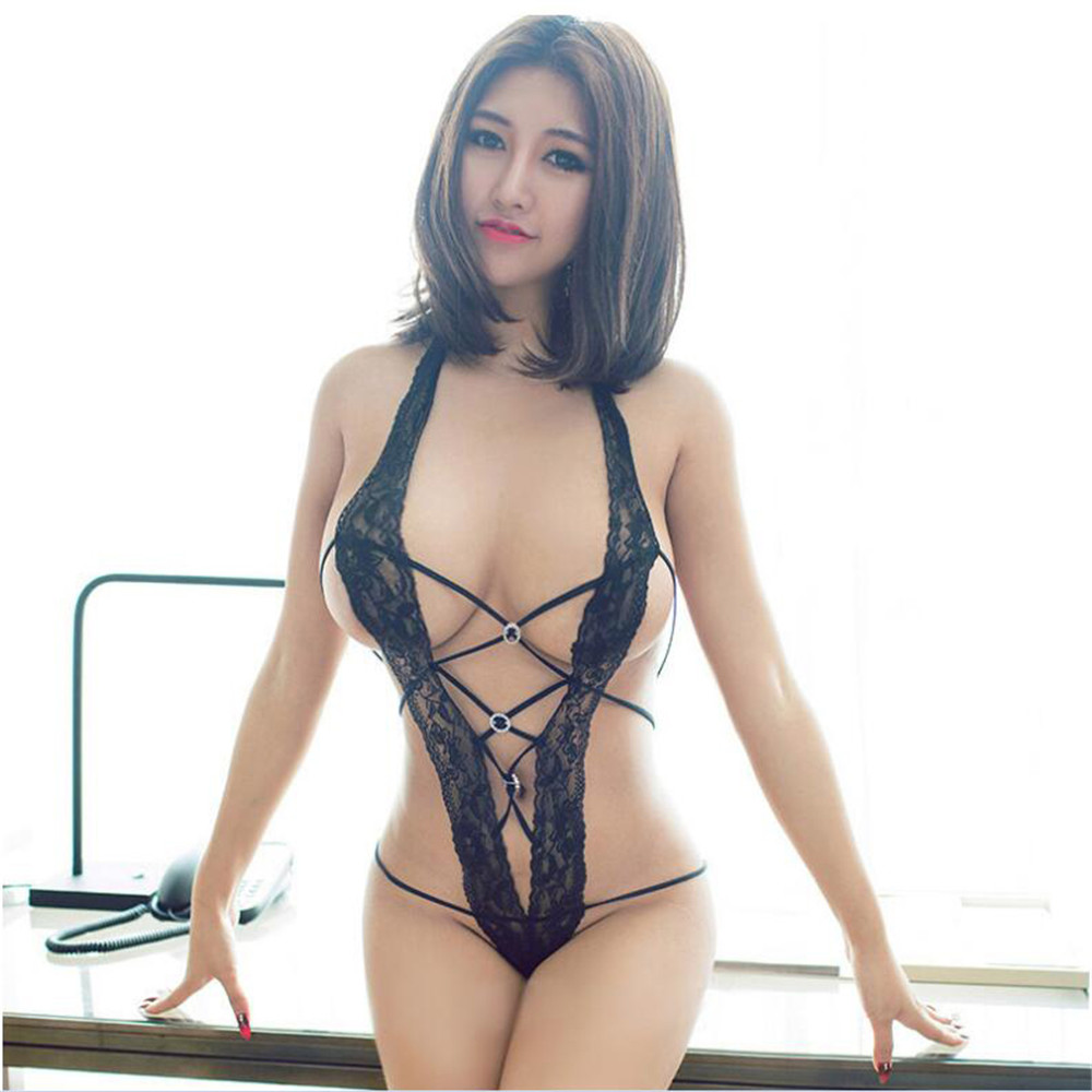Lace Transparent Halter Cardigan Frenulum Sticky Drill High Fork Jumpsuit Bodysuit Sexy Lingerie Bodystocking Catsuit Body Suit