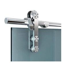 DIYHD-Herrajes para puerta de granero de vidrio, puerta corredera de vidrio sin marco, para Interior de oficina, Kit de puerta corredera de Granero