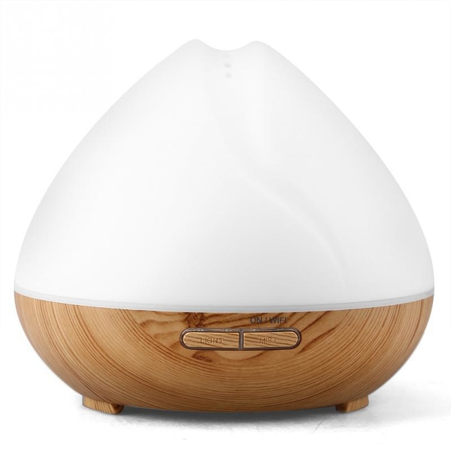400 Ml Wifi inteligentny nawilżacz ultradźwiękowy sterowanie głosem zegar Led Aroma dyfuzor OLEJEK ETERYCZNY dyfuzor działa z Google (wtyczka amerykańska