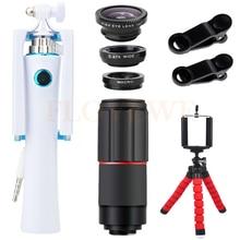 Best Buy New 8X Telephoto Zoom Lenses For iPhone Samsung Cell Phone lentes Kit Fisheye Wide Angle Macro Lens Mini Selfie Stick Telescope