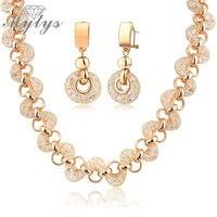 18k Rose Gold GP Shrimp Shape Net Zircon Circles Necklace And Earrings Set For Women BNIB