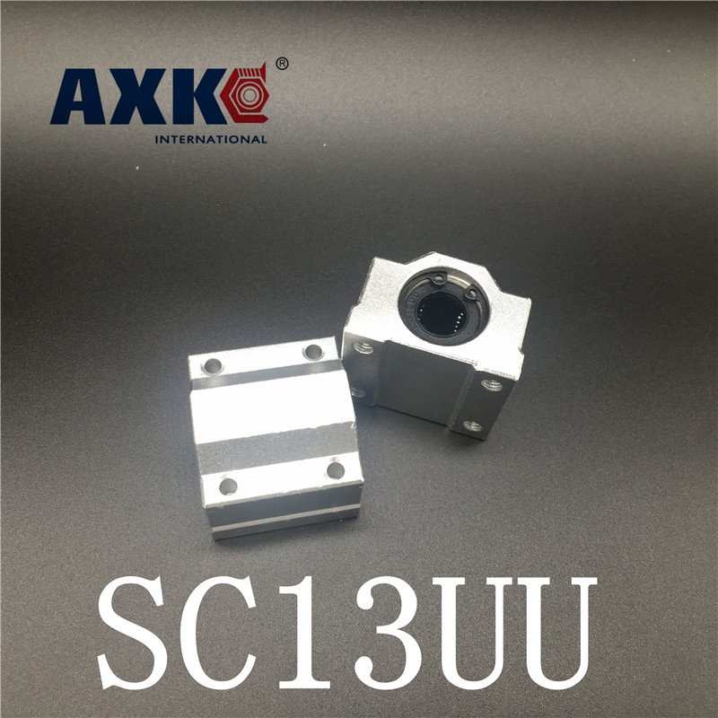 2018 Rushed Axk Free Shipping Sc13uu 13mm 2pcs /lot Standard Linear Axis Ball Bearing Block With Bush Pillow Unit For Cnc Part axk mr12 miniature linear guide mgn12 long 400mm with a mgn12h length block for cnc parts free shipping