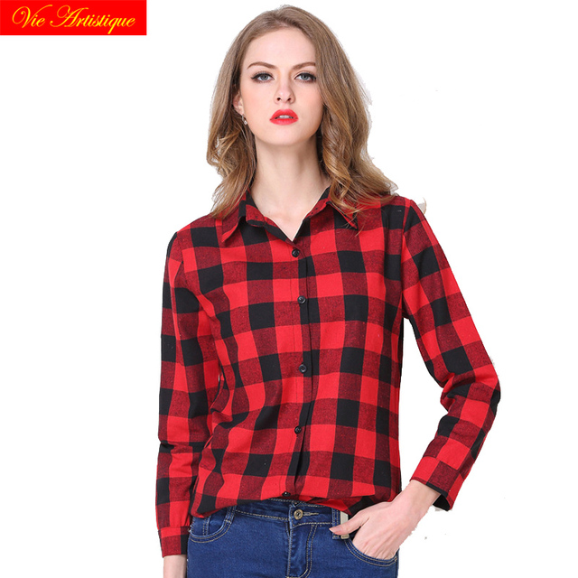 women's tops and blouses shirt plus size ladies long sleeve 2018 summer black red plaid cotton casual shirts sexy office