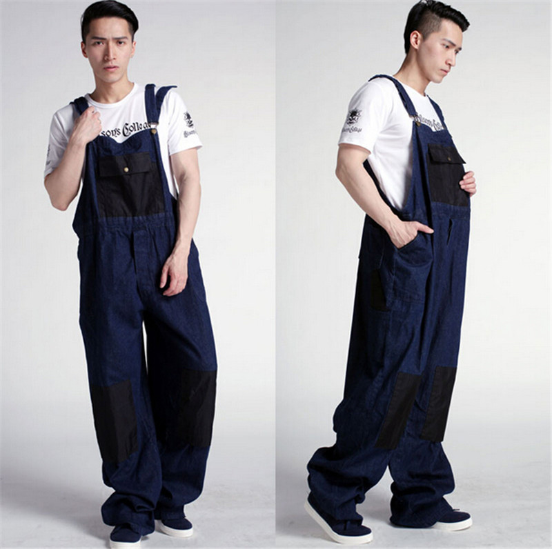 ФОТО Fashion Men's Plus Size Overalls Large Size Huge Denim Bib Pants Fashion Pocket Jumpsuits Male