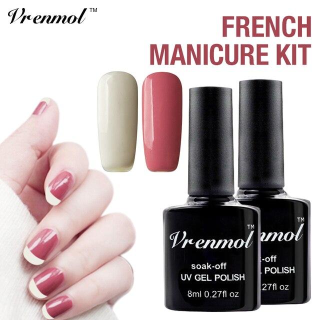 Vrenmol Nail Art Set Wit Bonen Pasta Kleur Uv Gel Nail Soak Off Uv