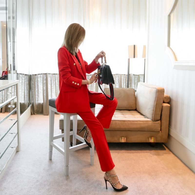 Et Nouvelle Femme Évasée 1 Automne Mode Scission Rouge Mince Costume Pantalon Ensembles Printemps Casual Deux De O0NnPX8wk
