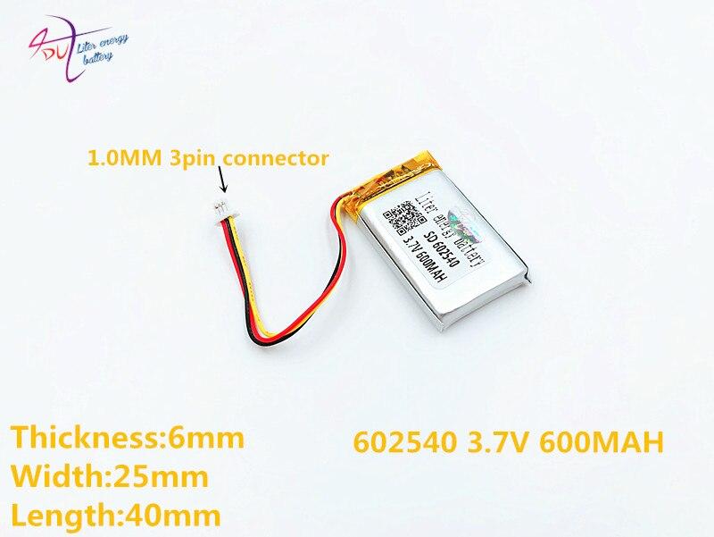 Stromquelle Unparteiisch 3 Gewinde 3,7 V 602540 600 Mah Liter Energie Batterie Lithium-ionen Polymer Batterie Ce Fcc Rohs Zertifizierung Behörde Batterien