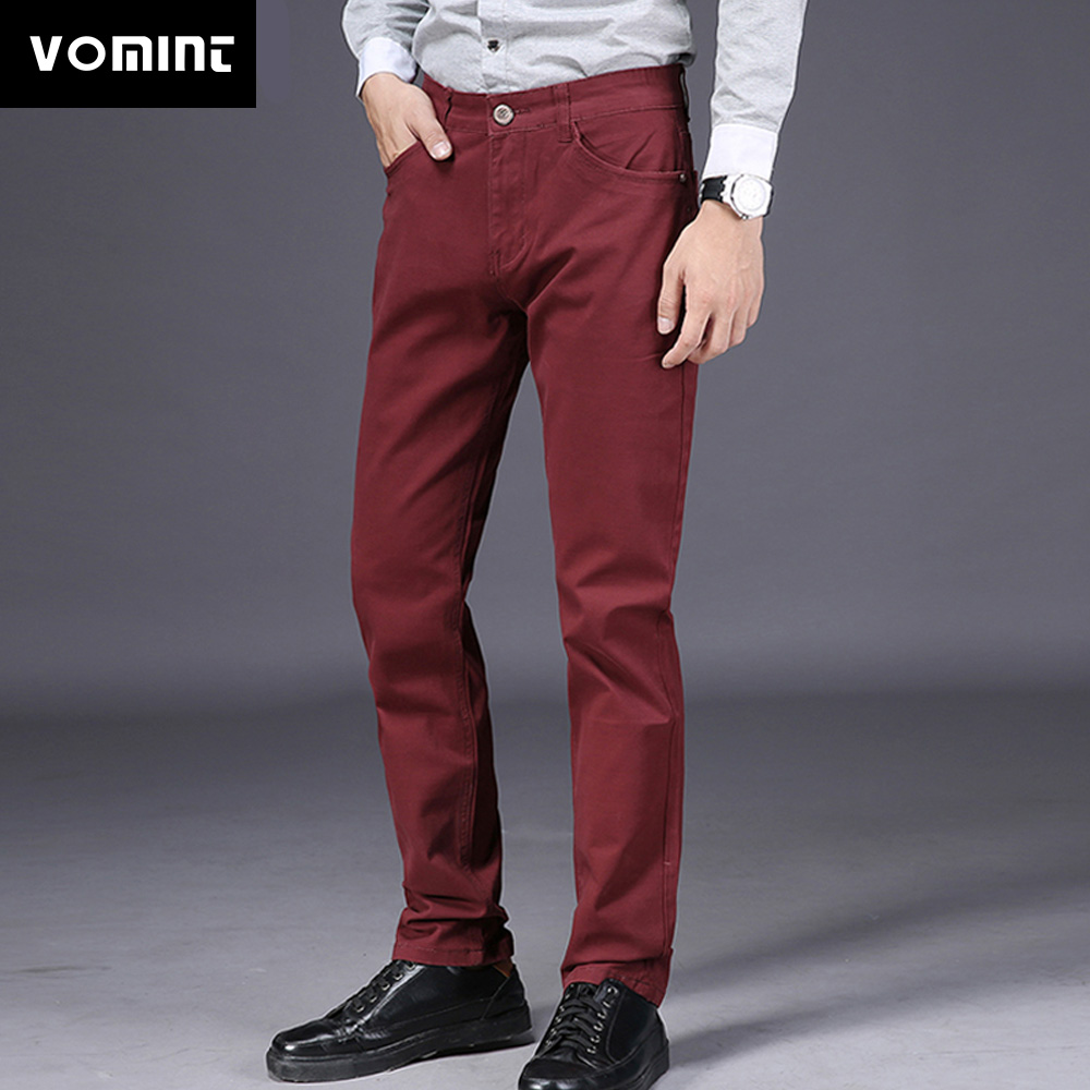 VOMINT 2019 New Mens Casual Business Pant Slim Straight Trousers Badge Pockets Black Blue Khaki Big Size 44 46 Fashion Male