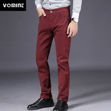 VOMINT 2019 New Mens Casual Business Pant Slim Straight Trousers Badge Pockets Black Blue Khaki Big Size 44 46 Fashion Male(China)