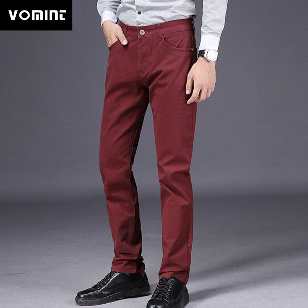 VOMINT 2020 New Mens Casual Business Pant Slim Straight Trousers Badge Pockets Black Blue Khaki Big Size 44 46 Fashion Male
