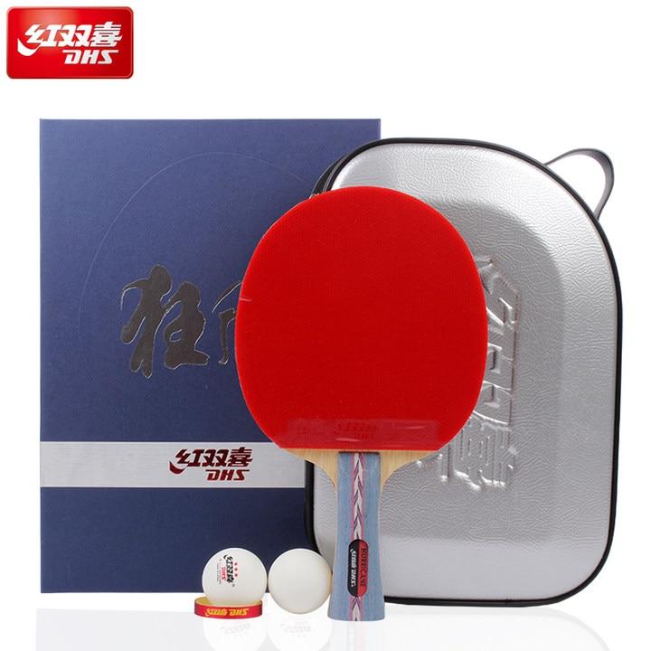 DHS Originale Hurricane 3 Table Tennis Racchetta con Gomma + Balls + Gift Bag Set Ping Pong Bat Brufoli In