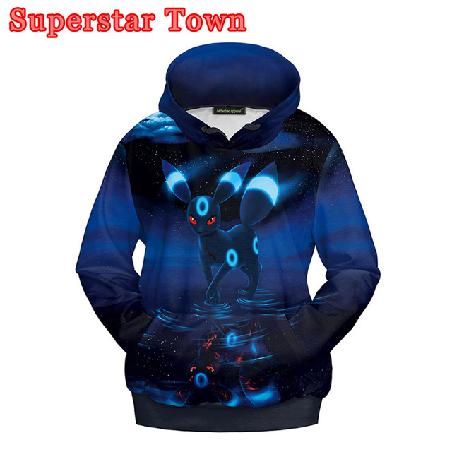 83ca8c7930a2 Umbreon Hoodies Japanese Anime Pocket Monster Cosplay Sweatshirt Harajuku  Casual Lover Couples Pullover Coat