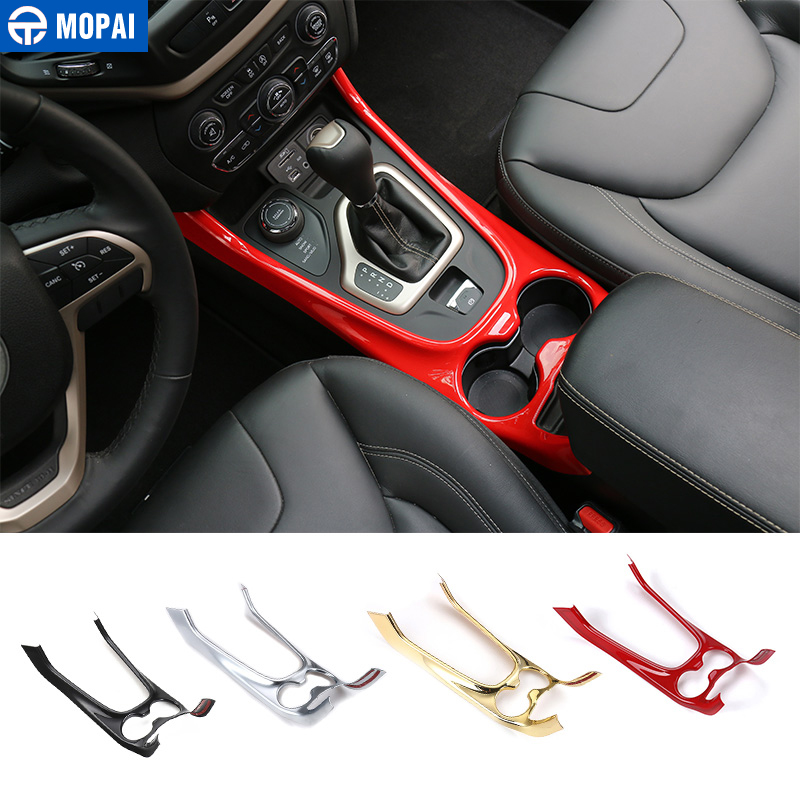 MOPAI Car Interior Gear Shift Panel Cup Holder Decoration Cover Trim ABS Stickers for Jeep Cherokee 2014 Up Car Styling console center gear shift shifter panel cover trim frame stickers car styling fit for chevrolet camaro 2017 interior accessories