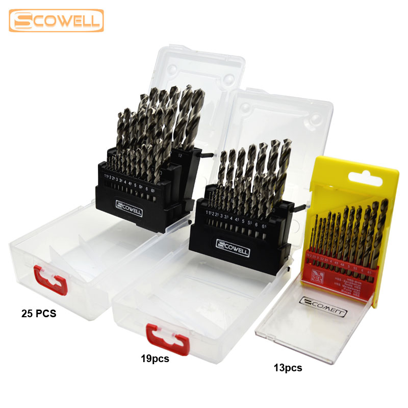 30% Off Free Shipping 13pcs kit 19pcs, 25pcs kit HSS Twist Drill Bits Set Metal Drill Bits Cobalt Drill Bit For Stainless steel flexsteel 13pcs hss titanium twist drill bits set to metal 8pcs carbon steel manual black twist wood drill bit set