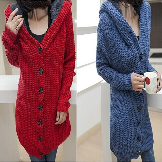 2014 Autumn New Fashion Plus Size Women Thick Warm Hooded Cardigan