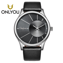 ONLYOU Simple Fashion Man Watch For Women Waterproof Quartz-watch Black/coffee Leather Watchband Aurora Style Pocket Watch