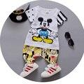 2016 nuevos muchachos Del Verano ropa de algodón del o-cuello de manga corta de los niños de niño trajes con carácter imprimir A049