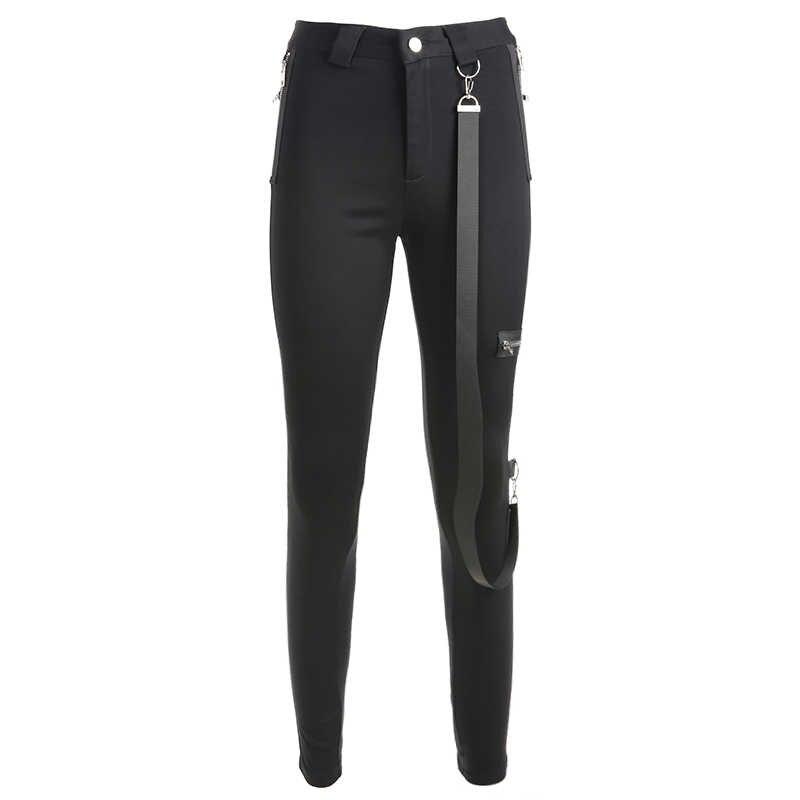 Weekeep женские черные Лоскутные штаны на молнии эластичные облегающие брюки-карандаш уличная одежда брюки с высокой талией женские брюки-карандаш