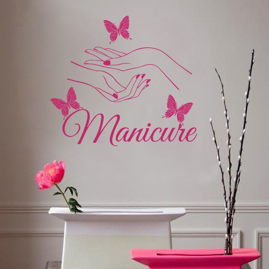 E139 Vinyl wall sticker Beauty Nail Art Manicure Wall stickers Butterfly Wall Decal for bathroom salon kids room Home Decor