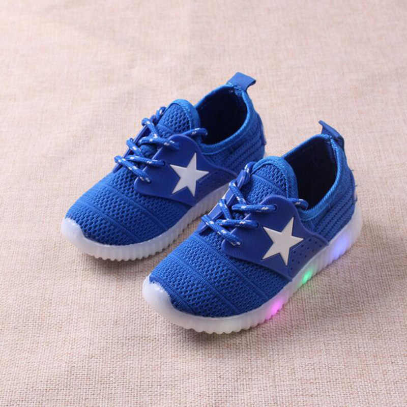 2019 New Children's Shoes with Light up breathable Boys Girls LED shoes casual kids glowing sneakers baby toddler LED shoes 1-3Y