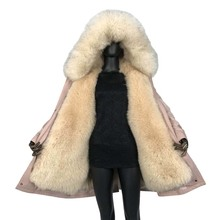 parka winter jacket women 2019 new large fox fur collar liner thick warm real fox fur hood Detachable Casual style natural fur цена в Москве и Питере