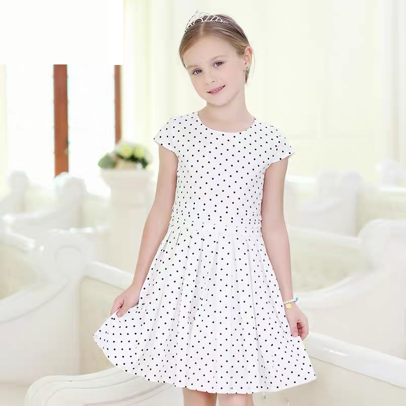Summer Kids girls 100-160cm Clothing children short sleeve black polka dot full dress teenager girl party formal pleated dresses недорго, оригинальная цена