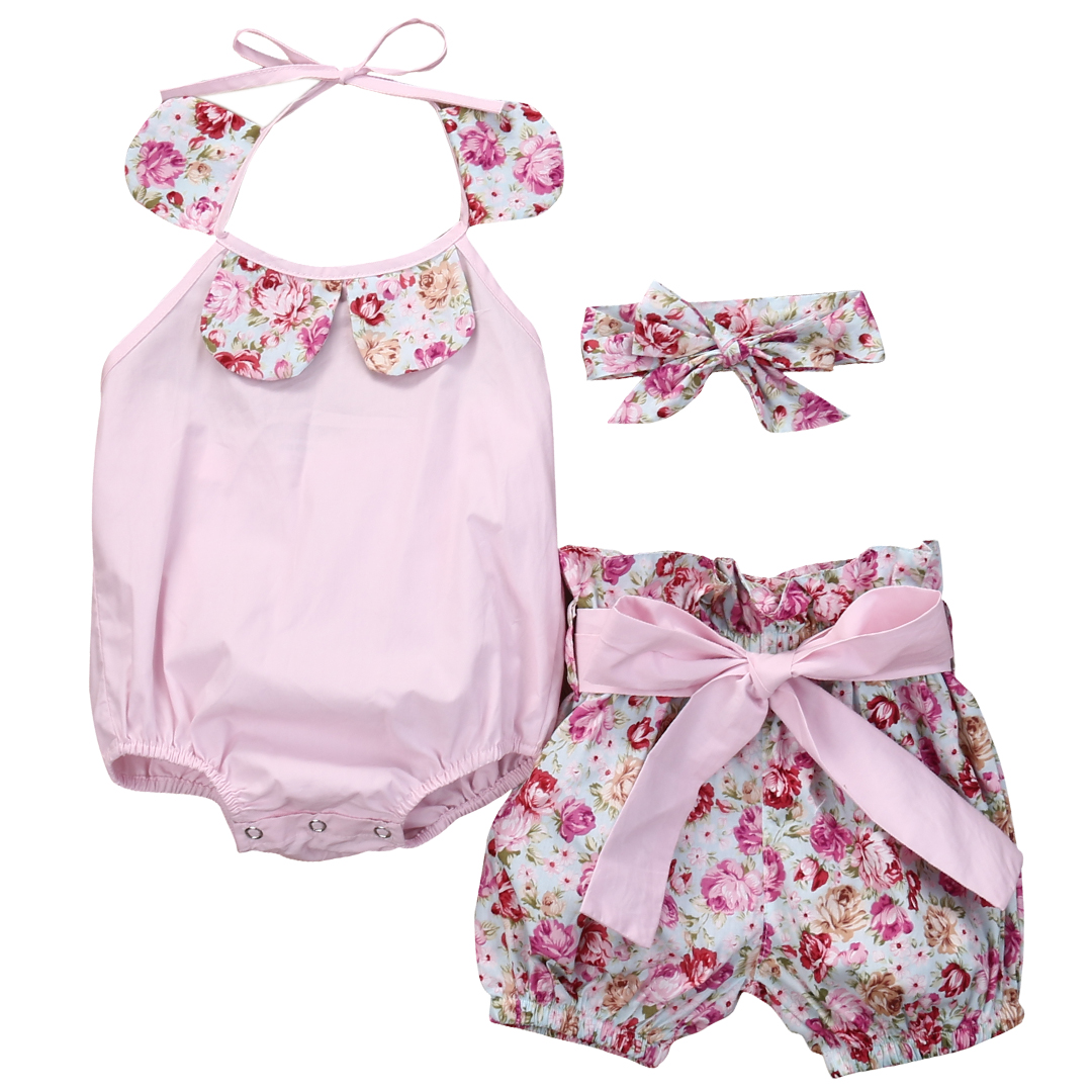 3 Pcs Newborn Babies Girls Floral Bodysuits outfits Infant baby girl bow Bodysuit+Shorts Bottoms 3pcs Outfits Set Sunsuit 0-24M cute newborn infant baby girl clothes set girls romper letter printed bodysuit floral tutu skirted bloomers short outfit sunsuit