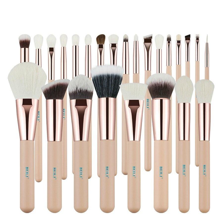 BEILI rose 25 pièces cheveux de chèvre naturel laine synthétique fiber poudre fond de teint correcteur fard à paupières maquillage pinceau ensemble