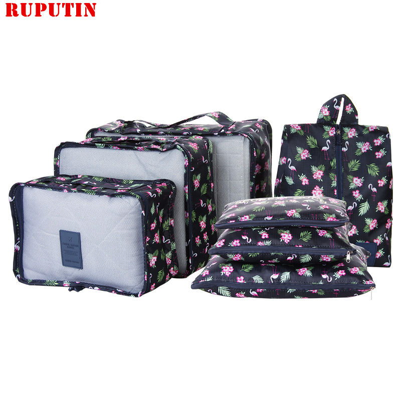 RUPUTIN New 7PCS/Set High Quality Oxford Cloth Ms Travel Mesh Bag In Bag Luggage Organizer Packing Cube Organiser For Clothing