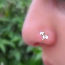 Кольцо для пирсинга носа из серебра 925 пробы позолоченное кольцо