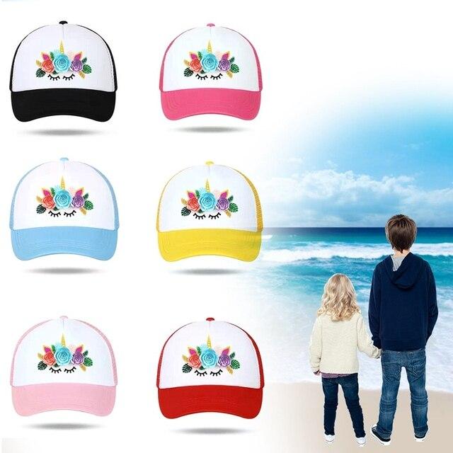Unicornio para el cabrito gorras de beisbol malla flor unicornio caballo  gorras Hip Hop sombrero Vary cbe74c94e13