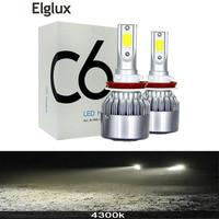 Elglux 2 pcs led h7 4300 k 자동차 헤드 라이트 램프 12 v h1 h11 9005/hb3 9006/hb4 cob 72 w 12 v 24 v h4 ampoule led voiture 자동차 조명