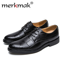Merkmak Spring Autumn Men Formal Shoes High Quality Luxury Brand Man Business Wedding Lace Up Footwear