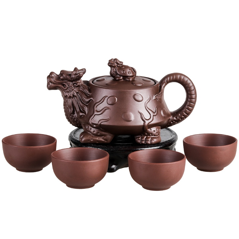 Authentic Yixing Dragon Teapot Sets 5pcs Ceramic Purple Clay Kung Fu Tea Set 1 Teapot + 4 Cups Handmade Zisha Teapot Set